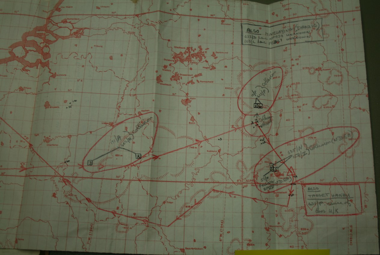 IMAGE: MRES Field Officer Marked Up Air Ministry Kingsway Generated Map for Region Near Frankfurt Germany