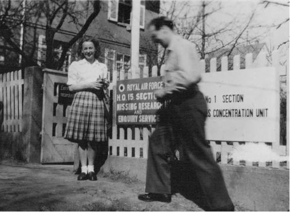 PHOTO: Outside 15 Section M.R.E.S. (my wife–to–be Birthe Grontved is pictured by gate)