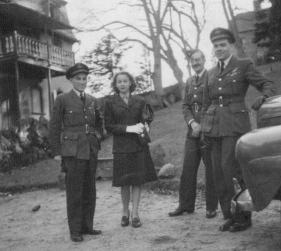 PHOTO: Hubert Brooks, Birthe Grontved, S/L Chick Rideal and another at 15 Section  		HQ in Bad Nauheim