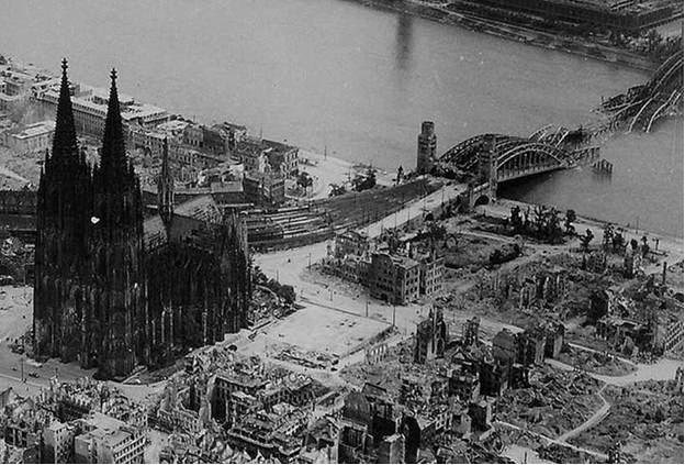 PHOTO 2: Bomb Damage around Dom Cathedral in Cologne