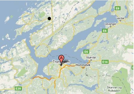 Image of map showing location of Trondheim 2