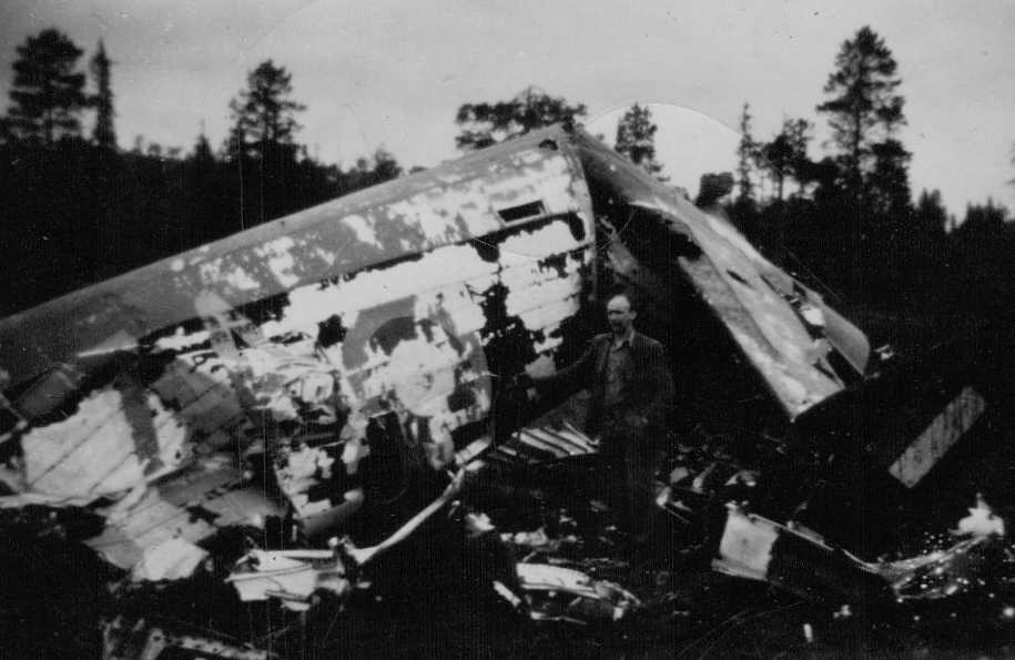 PHOTO2 at Stjordal Norway crash site. W/C Bennett and crew safe after 28Apr42 crash.
