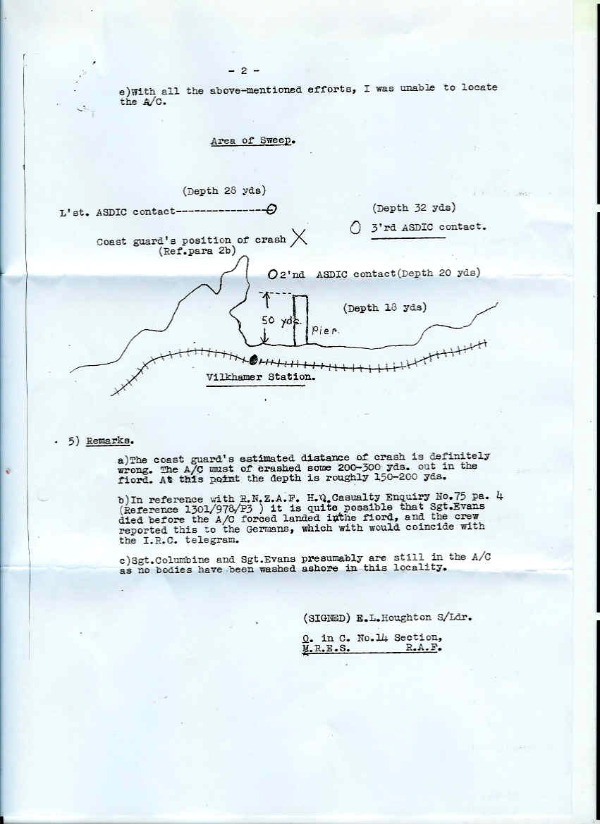 Image of Hubert Brooks MRES Casualty Enquiry Report N 75 page 2 of 2