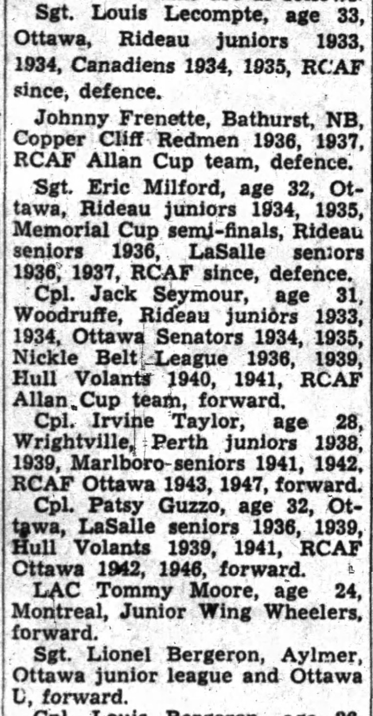 IMAGE: Partial List 1 of  RCAF Flyer Prospects in camp as of October 21 1947