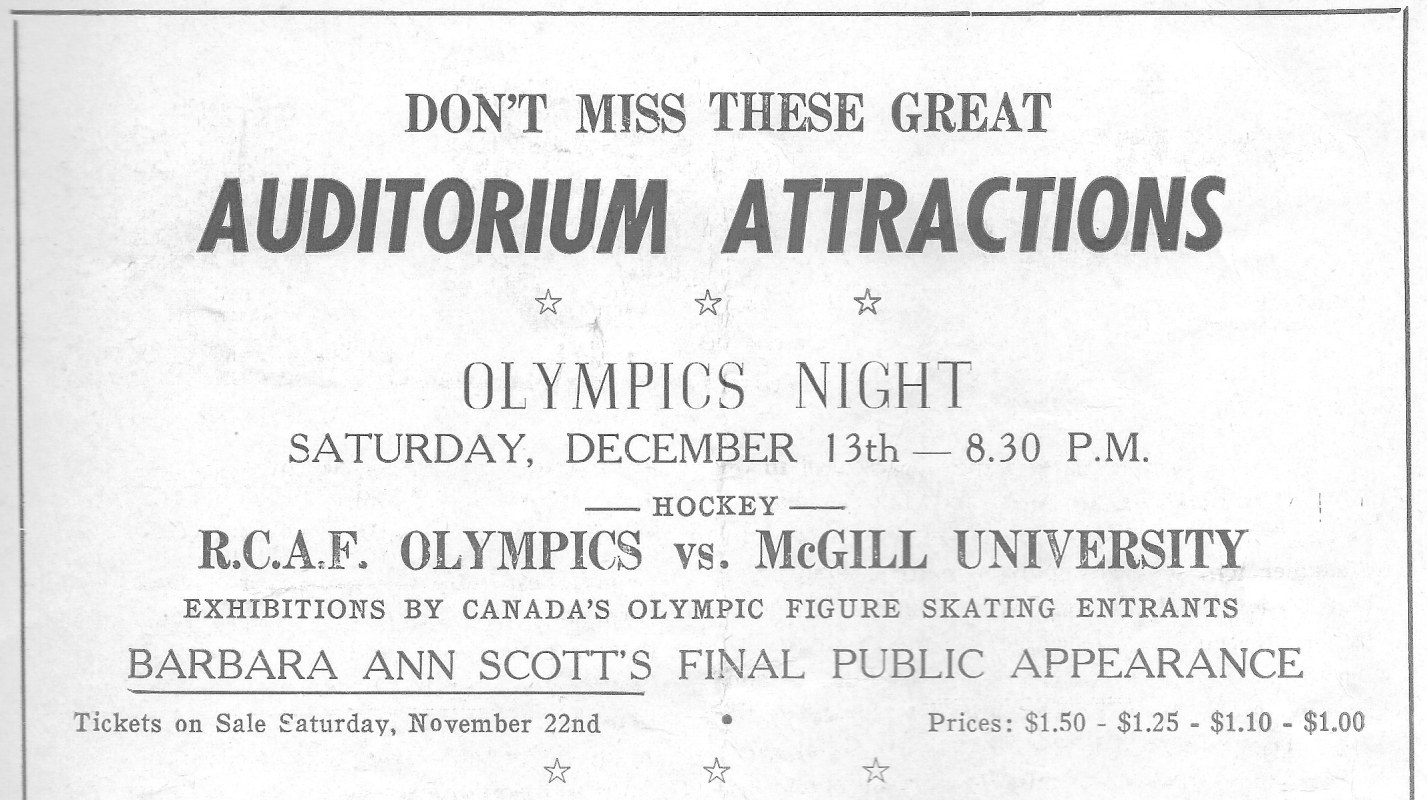 IMAGE: AD2 for RCAF Flyer Olympic Night Appearance at the Auditorium