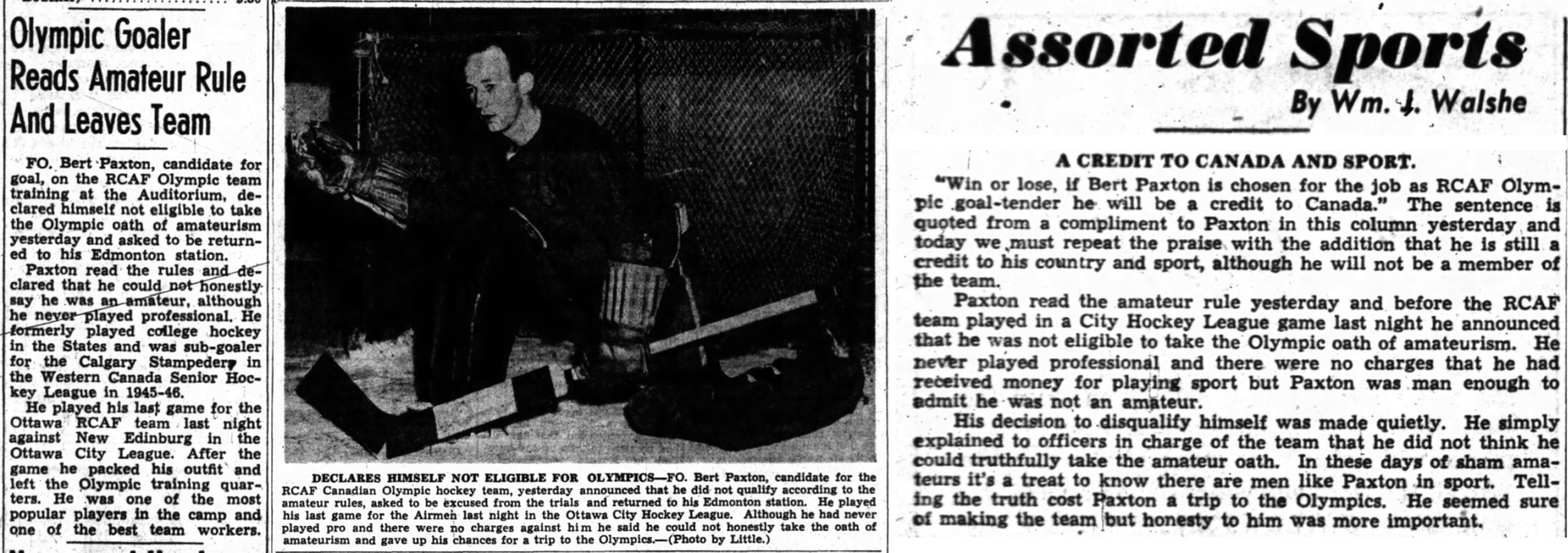 PHOTO: Ottawa Journal Oct 29 1947 Newspaper Article excerpts  Goalie Bert Paxton Leaves Flyers due to Olympic Oath