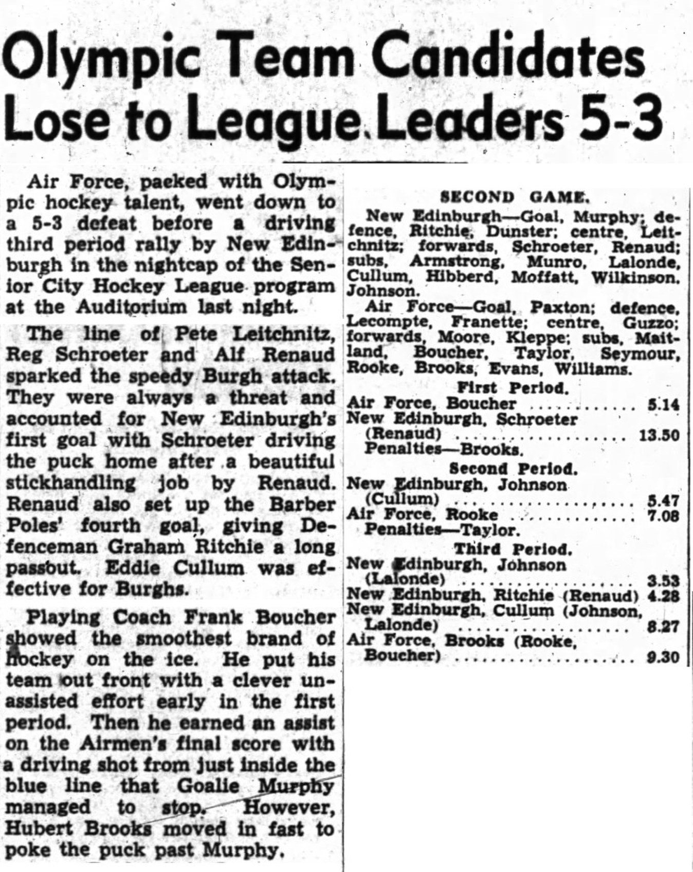 PHOTO: Oct 29 1947 OJ Newspaper Article excerpts  RCAF Flyer vs  Edinburgh loss 5 to 3 in Ottawa City League