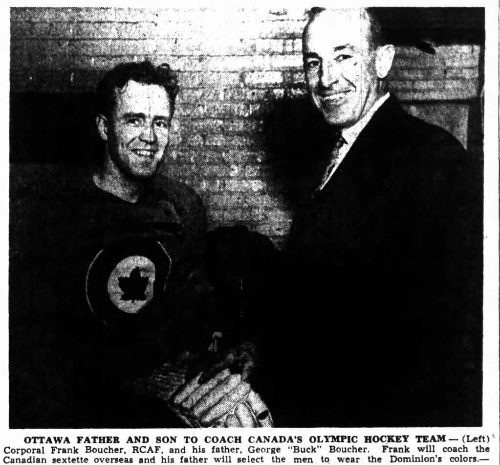 PHOTO: Newspaper PHOTO of George and Frank Boucher after formal Oct 22 1947 announcement of their appoitment to RCAF Flyers