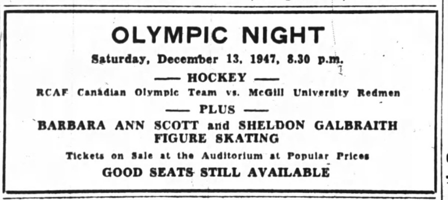 IMAGE: AD for RCAF Flyer Olympic Night Appearance at the Auditorium