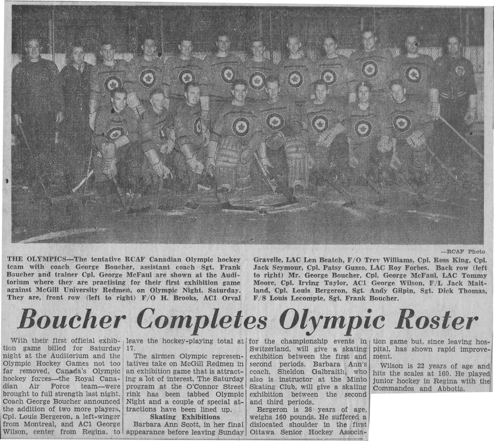 Photo: Early RCAF Flyer Hockey Team Photo prior to McGill Olympic Night Match