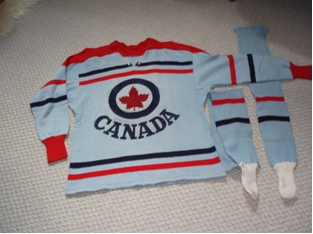 Photo: Front View RCAF Flyer Hockey Team Post-Olympic Exhibtion Game Jersey used in Canada