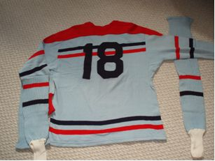 Photo: Rear View RCAF Flyer Hockey Team Post-Olympic Exhibtion Game Jersey used in Canada