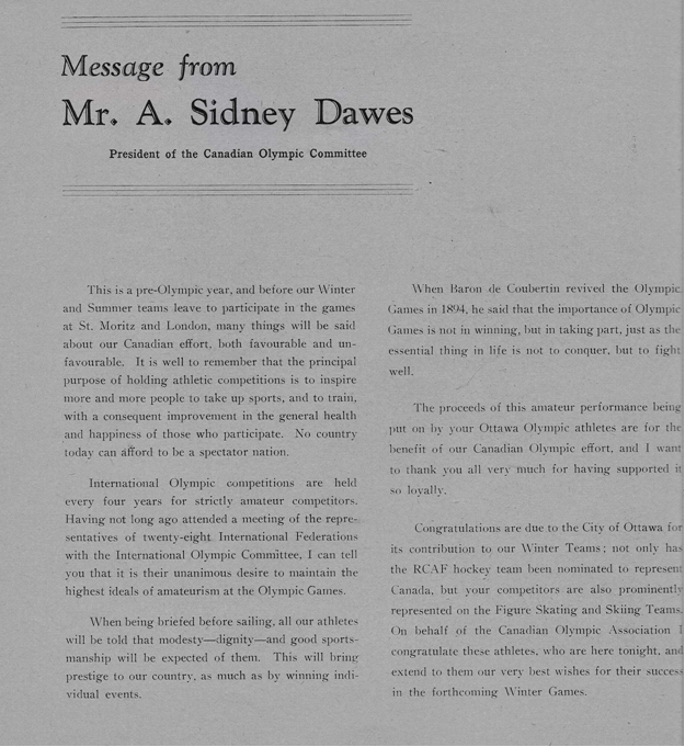 Photo: Olympic Night Program Sidney Dawes Message