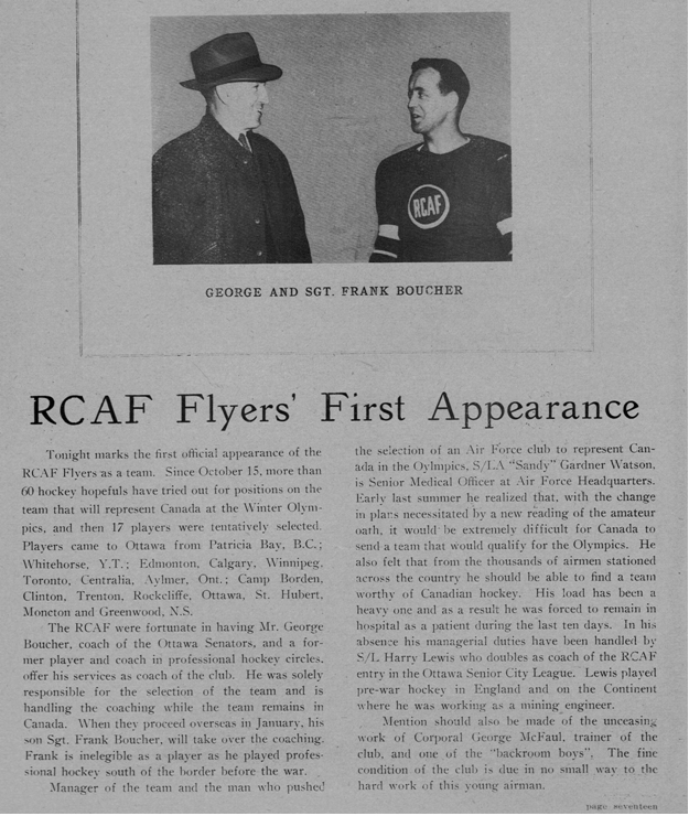 Photo: Olympic Night Program RCAF Flyer First Appearance Message