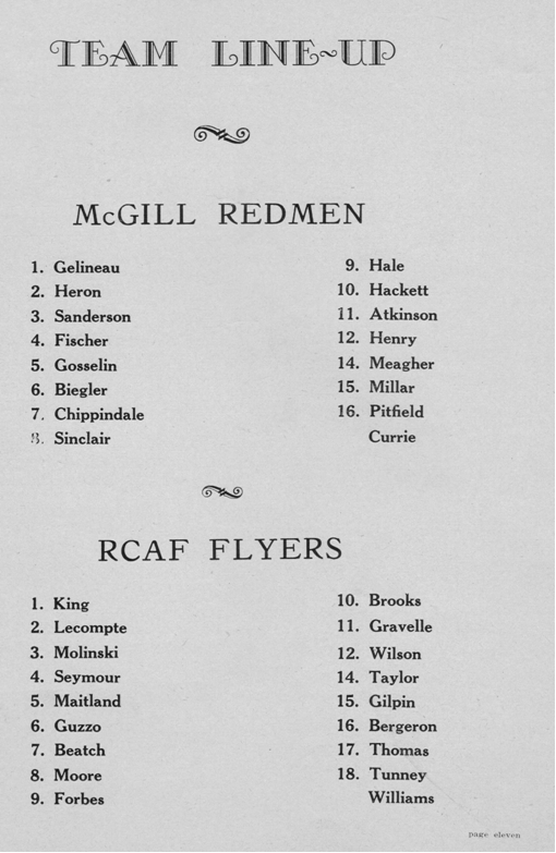 Photo: Olympic Night RCAF Flyer / McGill Redmen Team Lineups
