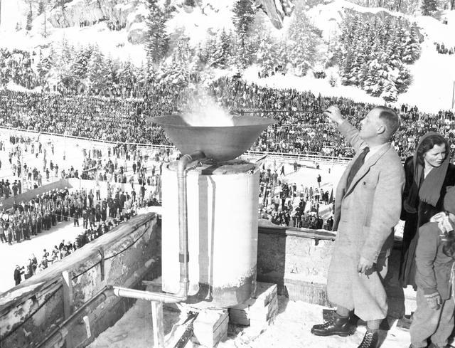 Photo: 1948 Winter Olympic Torch Being Lit