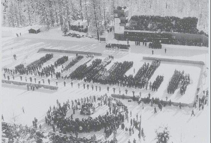 Photo: Overview of Opening Ceremony at 1948 Winter Olympics in St. Moritz