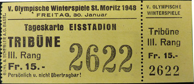 Image: Ticket for 1948 Olympic Opening Ceremony