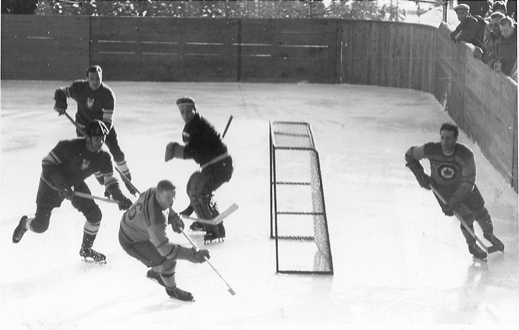 Photo:Action in Austria vs RCAF Flyers at 1948 Winter Olympics