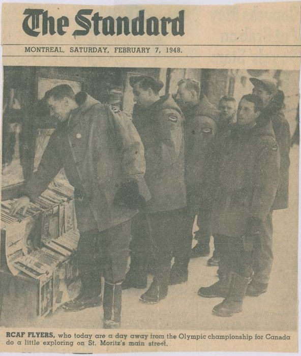 Photo:RCAF Flyers Browsing in St Moritz Between Hockey Games