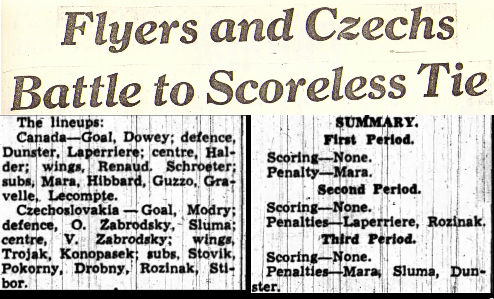 Image: BoxScore: RCAF Flyers vs Czech at 1948 Winter Olympics