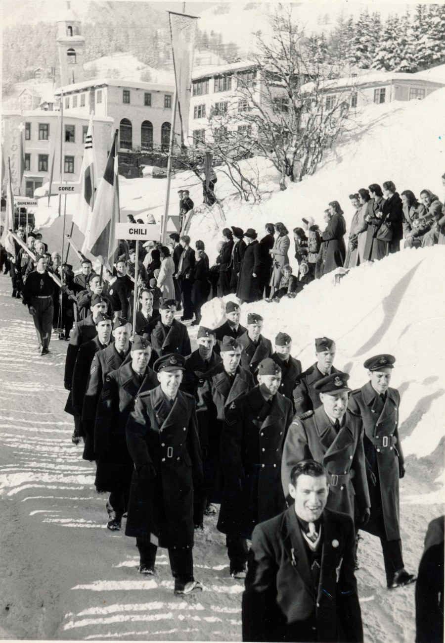 Photo: RCAF Flyers March at Opening Ceremonies 1948 Winter Olympics