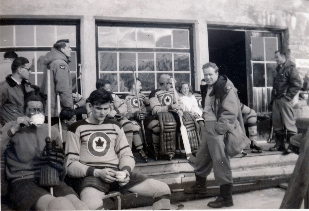 Photo: Team Resting with tea prior to Canada vs. Italy Olympic 1948 Olympic Hockey match