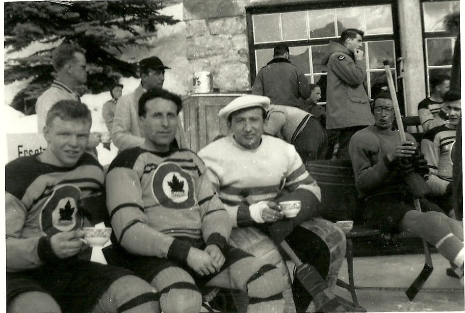 Photo: Gravelle and Guzzo with Italian Goalie prior to Canada vs. Italy match
