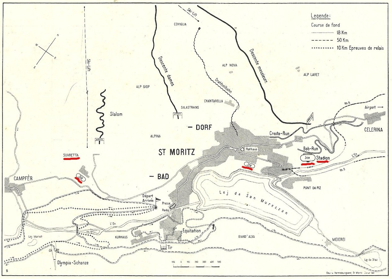 Photo: Map Showing Location of Olympic Venues in St Moritz for 1948 Winter Olympics
