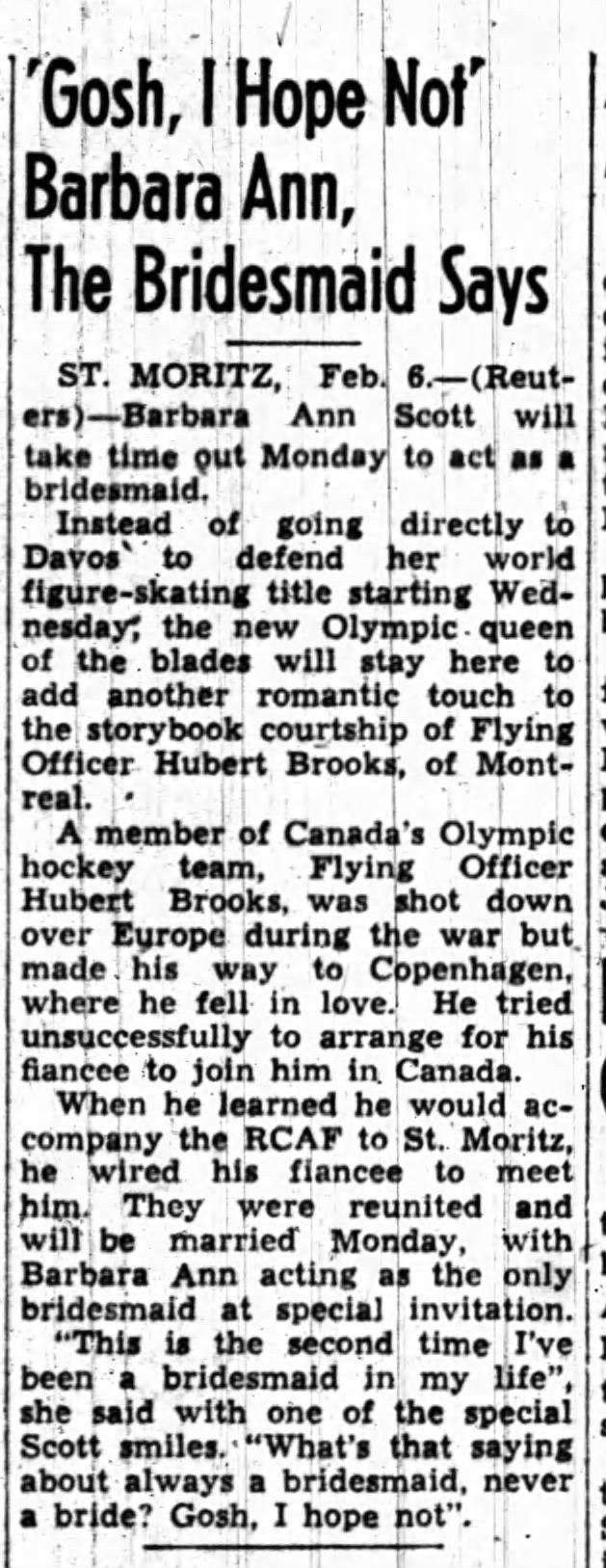 Image: Feb 7, 1948 Newspaper Article Scott comments on Brooks Pending Wedding