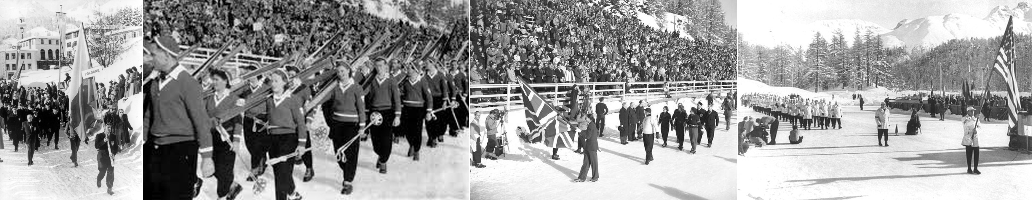 Photo: Panorama Image of Poland, Switzerland, Great Britain and United States March In at  1948 Winter Olympics