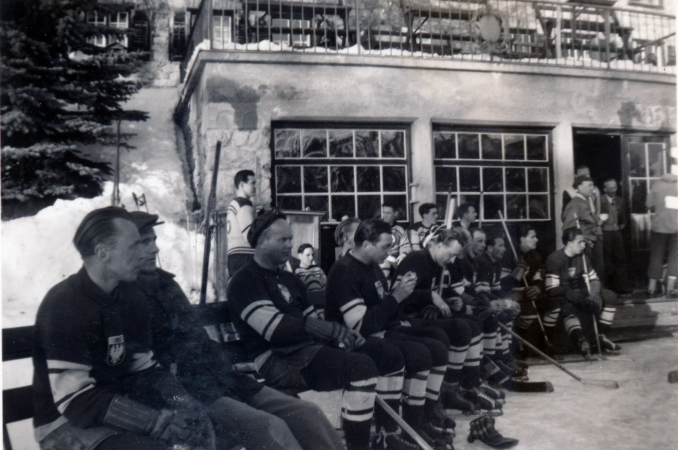 Photo:Pre Game PHOTO of Austria vs RCAF Flyers at 1948 Winter Olympics