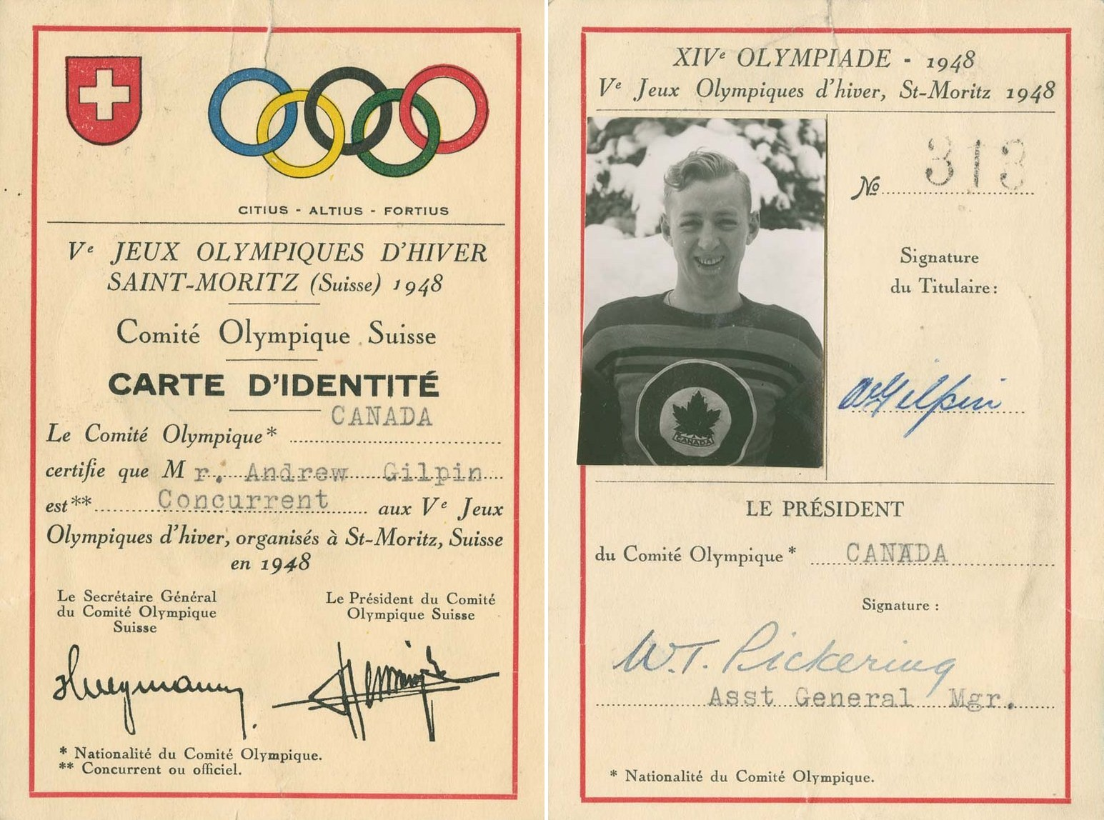 Photo: RCAF Flyer Andy Gilpin 1948 Olympic CARTE D'IDENTITÉ