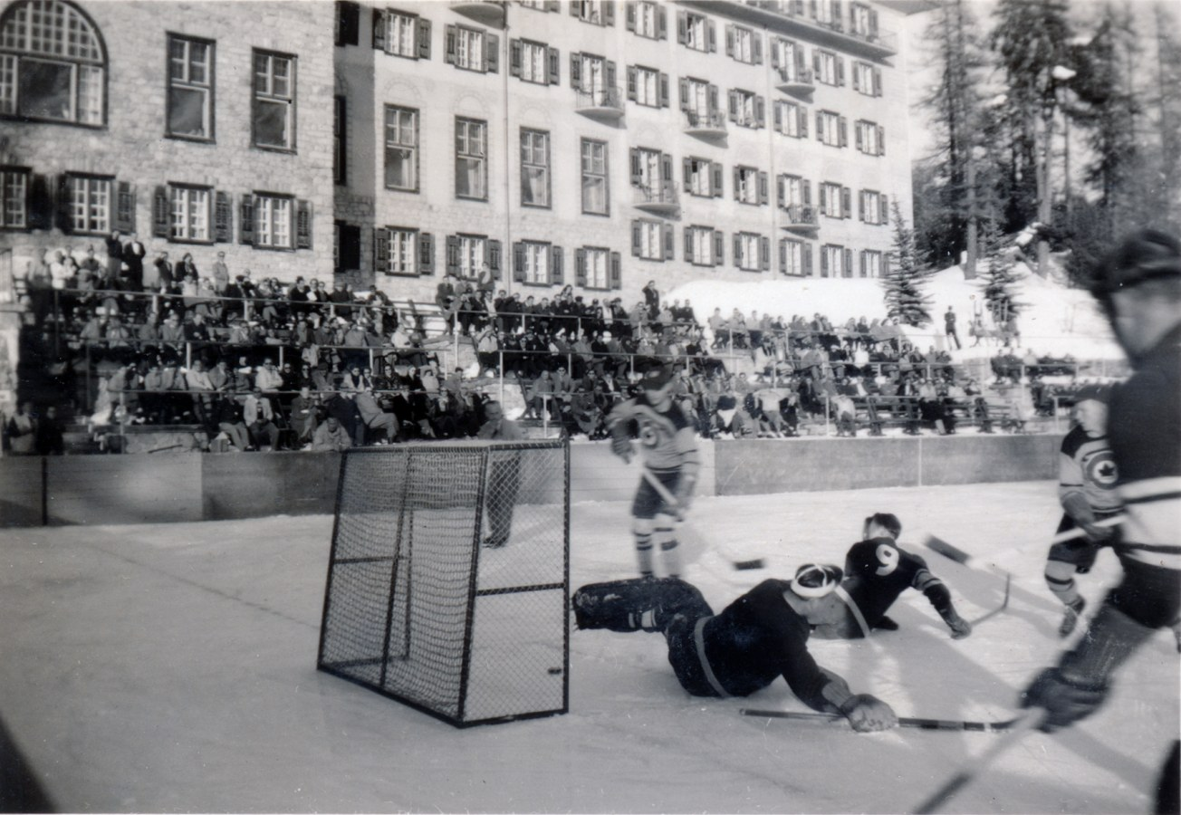 Photo:Austria vs RCAF Flyers at 1948 Winter Olympics