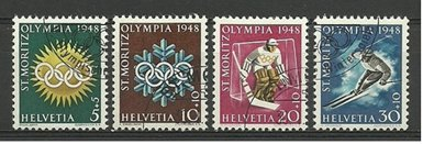 Photo: Swiss Commemorative Stamps for 1948 Winter Games