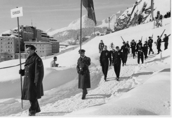 Photo: Canadian Contingent Marching down to Stad Olympique at Opening Ceremonies 1948 Winter Olympics