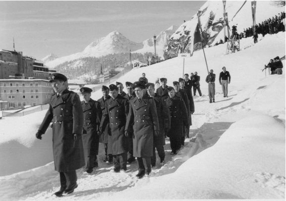 Photo: R.C.A.F. Flyers Hockey Team  Marching down to Stad Olympique at Opening Ceremonies 1948 Winter Olympics