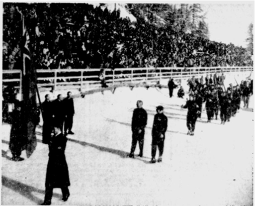 Photo: Montreal Gazette Photo and News Caption of Hubert Brooks Leading Canadian Contingent in March Past at Opening Ceremonies 1948 Winter Olympics