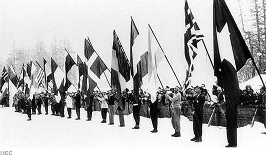 Photo: 1948 St Moritz Olympics Flag Carriers In Circle 1