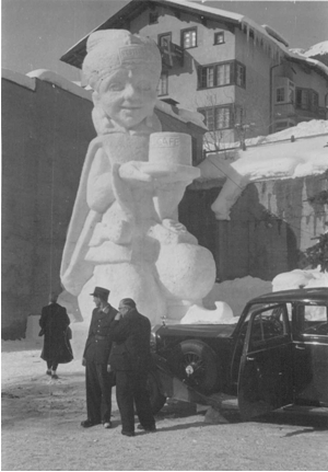 Photo: An ice sculpture called  Ali Java in ST. MORITZ during 1948 Winter Olympics