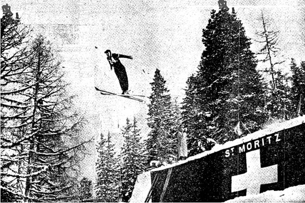 Photo:US Ski Jumper Sverre Fredheim competing in the 1948 winter games