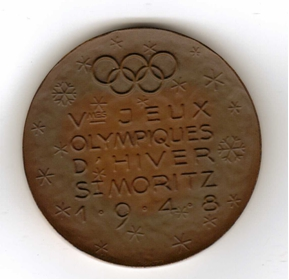 Photo: 1948 Winter Olympic Souvenir Medal Presented to Hubert Brooks 1