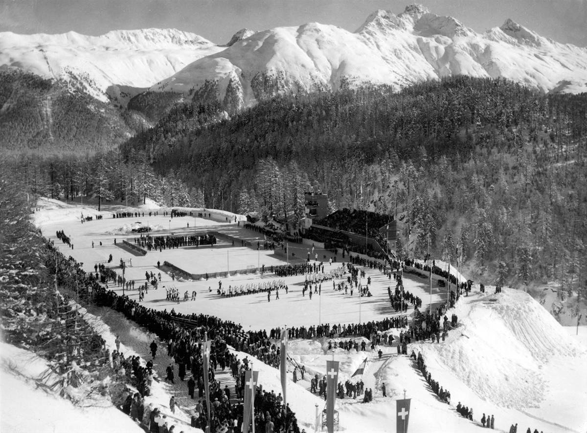 Photo: Opening Ceremony At 1948 Winter Olympics with American contingent of athletes entering stadium
