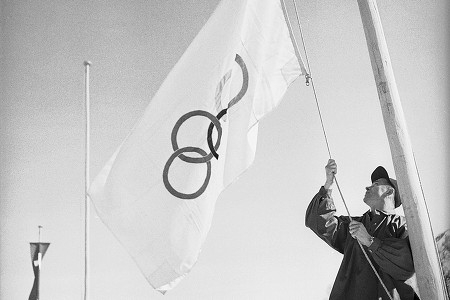 Photo: Olympic Flag Being Raised at 1948 Winter Olympics in St. Moritz