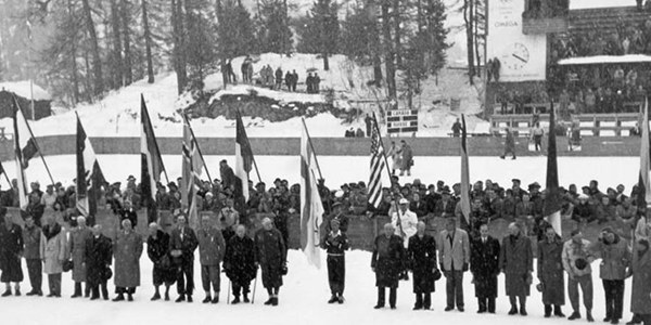 Photo: 1948 St Moritz Olympics Opening Ceremony Flag Carriers