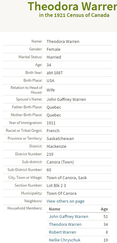 IMAGE from 1921 Canada Census for Theodora Warren
