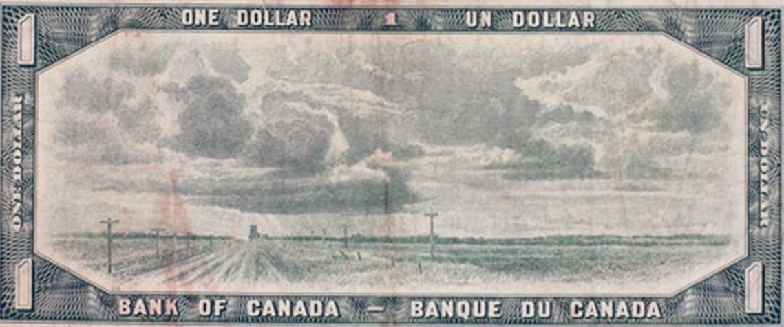 Old Canadian One Dollar Bill depicting Bluesky Alberta on back