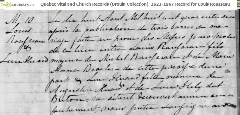 Image 3 from Drouin Collection Church Records for the marriage of Louis Rousseau to Luce Huard