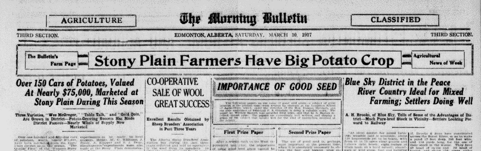 The Edmonton Bulletin on Saturday  March 10 1917 Blue Sky District in the Peace River Country Ideal for Mixed Farming per A H Brooks
