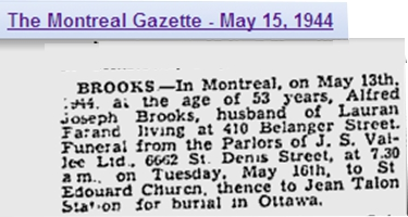 Image of Alfred Brooks Obituary in Montreal Gazette